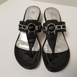 Marc Fisher Thong Sandals Black Silver Size 8M